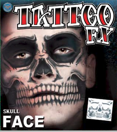 Temporary Tattoos Face Tattoo - Full Skull Face Tattoo<!-- Click to Enlarge-->