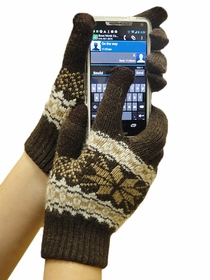 Text Gloves - Pair of Texting Gloves For Touch Screen Phones (Brown Snow Flake)