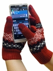 Text Gloves - Pair of Texting Gloves For Touch Screen Phones (Red Snow Flake)