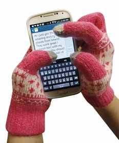 Texting Gloves - Hot Pink  Pair of Gloves For Touch Screens