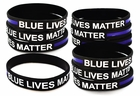 "10 Pack of Thin Blue Line Blue Lives Matter Adult 8"" Inch Elastic Silicone Rubber Bracelets"