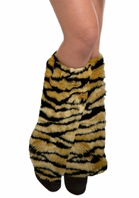 Tiger Print Furry Leg Warmers