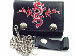 Tribal Dragon Embroidered Leather Chain Wallet