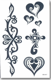 Tribal Heart Accents Temporary Tattoo