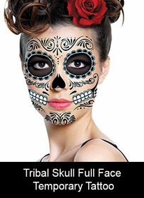 Temporary Face Tattoo - Tribal Skull