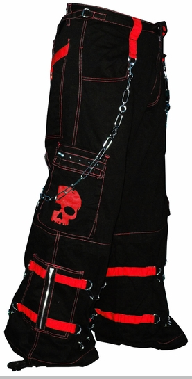 "Tripp NYC ""Electro Skull"" Bondage Pants (Black/Red)<!-- Click to Enlarge-->"