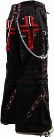 "Tripp NYC ""Gothic Cross"" Bondage Pants (Black/Red)"