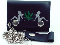 Trucker Babe Pot Leaf Genuine Leather Chain Wallet