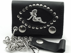 Trucker Babe Studded Premium Leather Chain Wallet