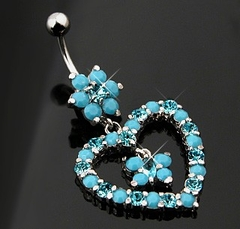 Navel Body Jewelry - Turquoise Heart Dangle Belly Button Ring
