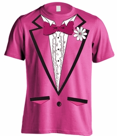 Tuxedo Shirt - Men's HOT PINK Tuxedo T-Shirt With Ruffles (Hot Pink Shirt)
