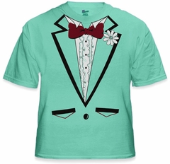 Tuxedo Shirt - Men's Light Green Tuxedo T-Shirt With Ruffles