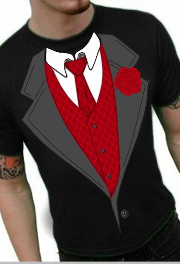 Tuxedo Shirts Formal Tuxedo T Shirt With Red Tie And Rose
