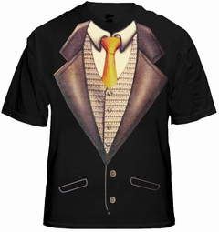Tuxedo T-Shirts - Deluxe Mens Tuxedo T-Shirt With Gold Tie