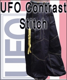 UFO Contrast Stitching Pants UFO Contrast Stitching Pants Since UFO's introduction in 1967, the have been the quintessential brand for trend setters ALL THREW OUT THE WORLD. UFO designs cutting edge clothing inspired by military surplus and street trends to form a purely unique production unlike any other. These pant are loved by all who have ever buttoned up a pair. The light weight, soft material comes in hundreds of different cuts, styles patterns and colors meaning their is i pair of UFO's perfect for you no matter who you are! These pants comfort and style have permanently cornered the market for hip hop dance, raving and trendy street wear. The World Famous UFO pants where first made popular by this classic cut wind pant. These pants are a versatile and comfortable fashion statement, loved by Hip Hop Dancers, Ravers, and people who demand the most comfortable pants in existence. Only UFO offers a huge color selection of over 25 patterns & colors to choose from.