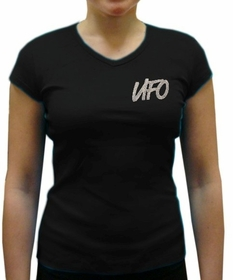 UFO Girly Cap Sleeve V-Neck T-Shirt (Black)