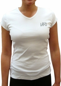 UFO Girly Cap Sleeve V-Neck T-Shirt (White)