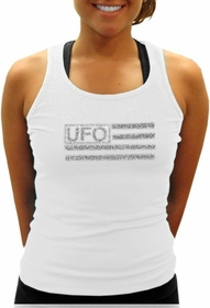 UFO Girly Racer Back Tank Top (White)