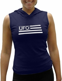 UFO Girly Sleeveless Hooded Tee (Navy Blue)