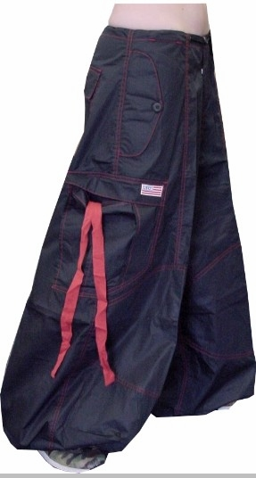 "Unisex 40 "" Wide Leg UFO Pants (Black/Red)"