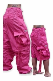 Unisex Basic UFO Pants w/ Zip Off Legs to Shorts (Hot Pink)