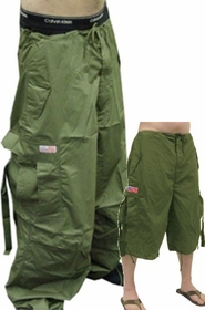 Unisex Basic UFO Pants w/ Zip Off Legs to Shorts (Olive)