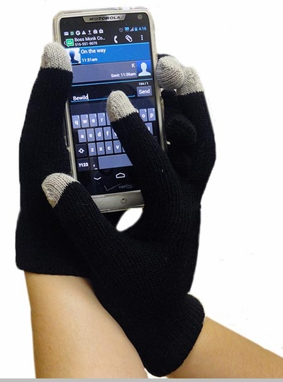Unisex Text Gloves - Pair of Texting Gloves For Touch Screen Phones (Black)<!-- Click to Enlarge-->