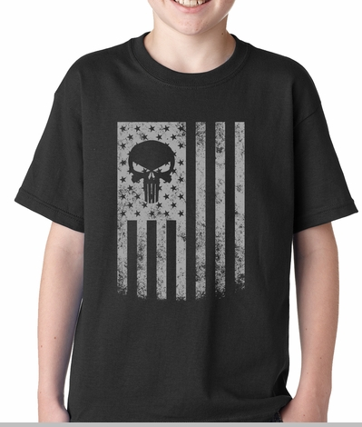 USA - American Flag Military Skull Kids T-shirt<!-- Click to Enlarge-->