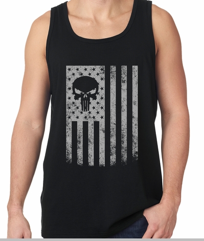 USA - American Flag Military Skull Tank Top<!-- Click to Enlarge-->