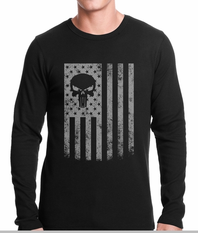 USA - American Flag Military Skull Thermal Shirt<!-- Click to Enlarge-->