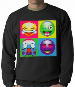 Block Print Emoji Faces Adult Crewneck