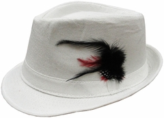 White Fedora With Feathers