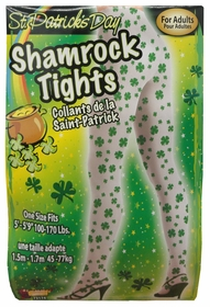 White/Green Shamrock Tights for Adults