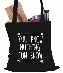 (White Print) You Know Nothing Jon Snow Tote Bag