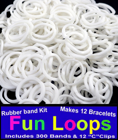 White Rubberband Looms - 300 Fun Loop Pieces