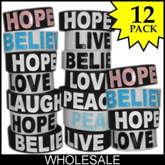 Wholesale Designer Rubber Saying  Bracelets (12 pack) Only $2 each!