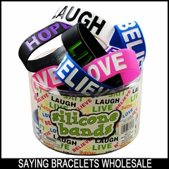 Wholesale Designer Rubber Saying Silicone Bands (24 Pack Assorted) Only 83¢ each!