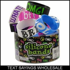 Wholesale Text Sayings  Designer Rubber Saying Bracelet (24 pack) Only 70¢ each!