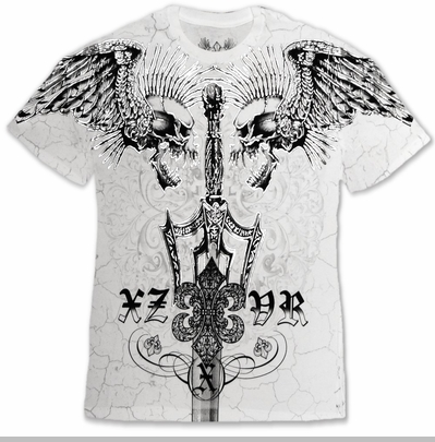 "Xzavier Da Grind ""Screaming Skulls"" T-Shirt (White)<!-- Click to Enlarge-->"