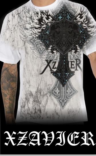 "Xzavier ""Nobel Winged Cross"" T-Shirt (White)<!-- Click to Enlarge-->"