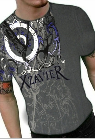 """Xzavier """"Only Time Will Tell"""" T-Shirt (Charcoal)<!-- Click to Enlarge-->"""