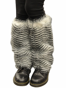 Zebra Furry Leg Warmers