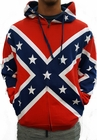 Zip Up Confederate Rebel Flag All Over Hooded Sweatshirt