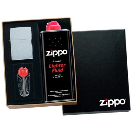 zippo lighter gift box with flints and fluid
