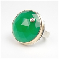 Faceted Round Green Onyx with Diamond