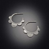 Scallop Hoop Earring, Sterling Silver