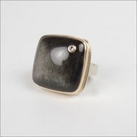 Smooth Square Silver Sheen Obsidian with Diamond