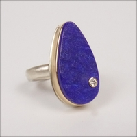 Teardrop Surface Cut Lapis with Diamond