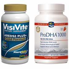 VisiVite AREDS2 Gold and Nordic Naturals ProDHA 1000 Bundle - 1 month supply