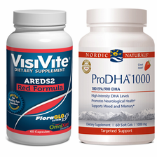 VisiVite AREDS2 Red and Nordic Naturals ProDHA 1000 Discount Combo<br>1 month supply
